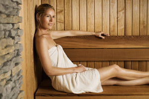 Woman in a Helo Sauna